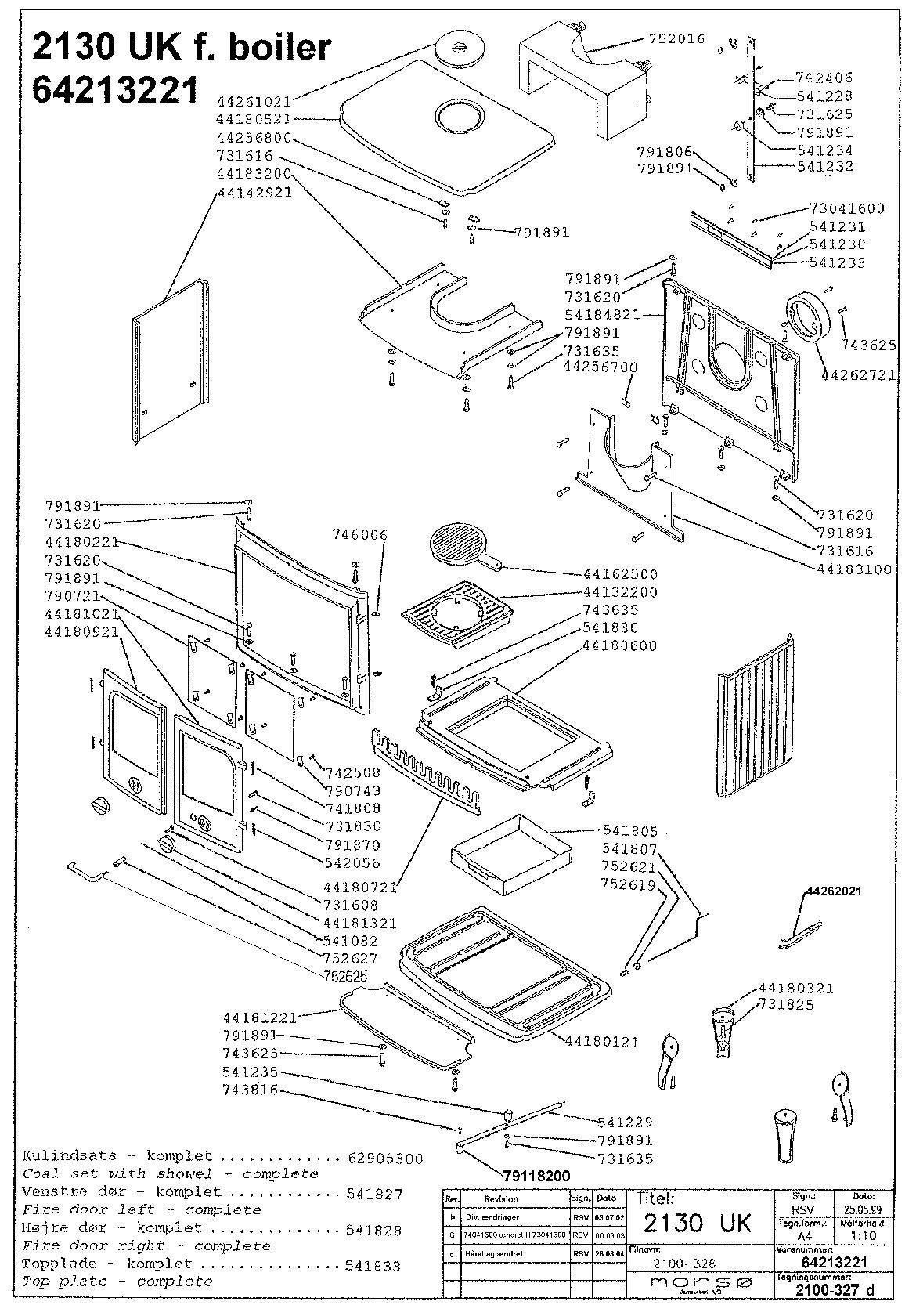 Morso Panther Stove Spares & Parts - 2100 Series