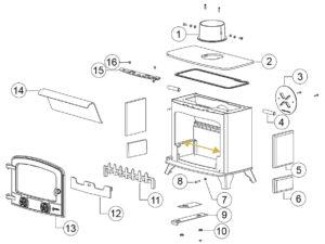 Parts of a woodburner